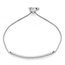 Adjustable Bolo One Row Bar Bracelet 14k White Gold (0.38ct)