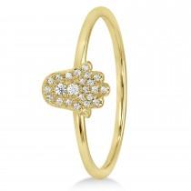 Diamond Hamsa Ring 14k Yellow Gold (0.10ct)