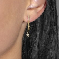 Diamond Drop Star Earrings 14k Yellow Gold (0.10ct)