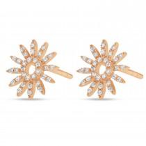 Diamond Sun Rays Earrings 14k Rose Gold (0.13ct)