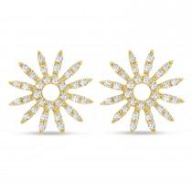 Diamond Sun Rays Earrings 14k Yellow Gold (0.13ct)