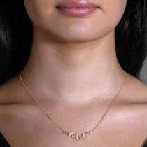 Diamond Vine Pendant Necklace 14k Rose Gold (0.25ct)