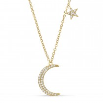 Diamond Moon and Single Star Pendant Necklace 14k Yellow Gold (0.10ct)