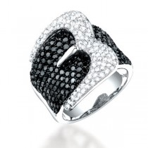 3.05ct 14k White Gold Black & White Diamond Belt Ring