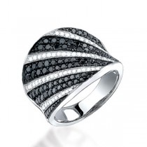 1.65ct 14k White Gold Black & White Diamond Ring