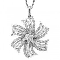 1.50ct 14k White Gold Diamond Flower Pendant Necklace