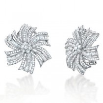 2.65ct 14k White Gold Diamond Flower Earrings