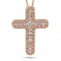 0.60ct 14k Rose Gold Diamond Cross Pendant Necklace