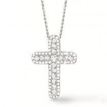 1.50ct 14k White Gold Diamond Cross Pendant Necklace