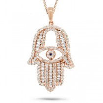 1.60ct 14k Rose Gold Diamond Hamsa Pendant Necklace