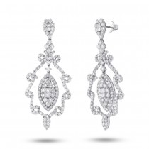 7.31ct 18k White Gold Diamond Chandelier Earrings