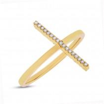 0.15ct 14k Yellow Gold Black & White Diamond Bar Lady's Ring