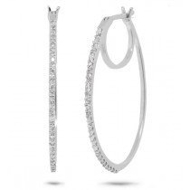 0.19ct 14k White Gold Diamond Oval Hoop Earrings