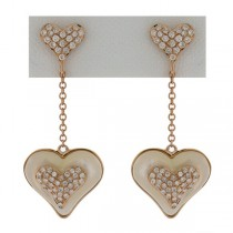0.45ct 14k Rose Gold Diamond & Mother Of Pearl Heart Earrings