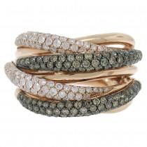 1.60ct 14k Rose Gold White & Champagne Diamond Bridge Ring Size 8.25