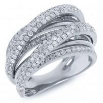 1.75ct 14k White Gold Diamond Bridge Ring Size 9