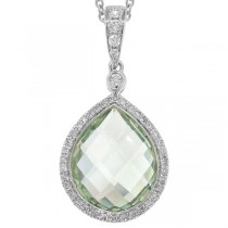 0.17ct Diamond & 4.60ct Green Amethyst 14k White Gold Pendant Necklace