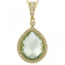 0.17ct Diamond & 4.60ct Green Amethyst 14k Yellow Gold Pendant Necklace