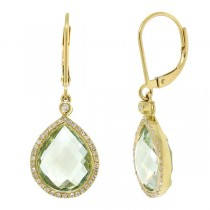 0.25ct Diamond & 9.37ct Green Amethyst 14k Yellow Gold Earrings