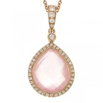 0.17ct Diamond & 4.61ct Rose Quartz 14k Rose Gold Pendant Necklace