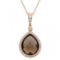 0.17ct Diamond & 4.51ct Smokey Quartz 14k Rose Gold Pendant Necklace