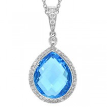 0.17ct Diamond & 6.18ct Blue Topaz 14k White Gold Pendant Necklace