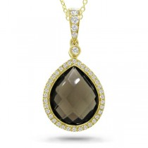 0.17ct Diamond & 4.51ct Smokey Quartz 14k Yellow Gold Pendant Necklace