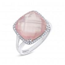 0.12ct Diamond & 8.68ct Rose Quartz 14k White Gold Ring Size 6