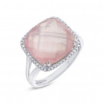 0.12ct Diamond & 8.68ct Rose Quartz 14k White Gold Ring Size 8