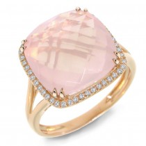 0.12ct Diamond & 8.68ct Rose Quartz 14k Rose Gold Ring Size 6