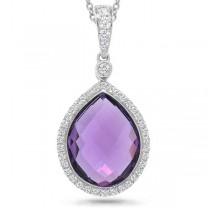 0.17ct Diamond & 4.36ct Amethyst 14k White Gold Pendant Necklace