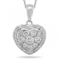 0.47ct 14k White Gold Diamond Heart Pendant Necklace