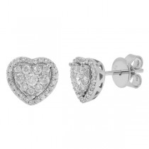 0.41ct 14k White Gold Diamond Heart Stud Earrings