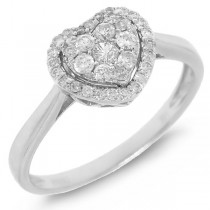 0.31ct 14k White Gold Diamond Heart Ring