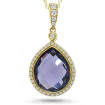 0.17ct Diamond & 4.36ct Amethyst 14k Yellow Gold Pendant Necklace