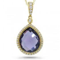 0.17ct Diamond & 4.36ct Amethyst 14k Yellow Gold Pendant Necklace
