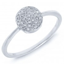0.11ct 14k White Gold Diamond Pave Lady's Ring Size 6.5