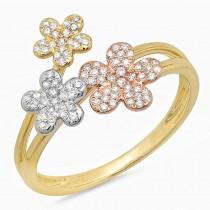 0.22ct 14k Three-tone Gold Diamond Flower Ring Size 6
