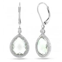 0.25ct Diamond & 9.37ct Green Amethyst 14k White Gold Earrings