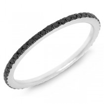 0.28ct 14k White Gold with Black Rhodium Black Diamond Eternity Band Size 6.25