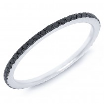 0.28ct 14k White Gold with Black Rhodium Black Diamond Eternity Band Size 6