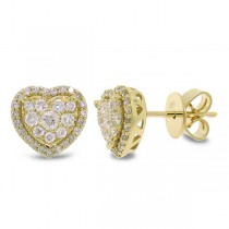 0.41ct 14k Yellow Gold Diamond Heart Stud Earrings