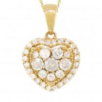0.47ct 14k Yellow Gold Diamond Heart Pendant Necklace
