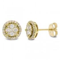 0.45ct 14k Yellow Gold Diamond Cluster Stud Earrings
