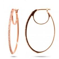 0.19ct 14k Rose Gold Diamond Oval Hoop Earrings