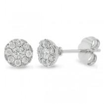 0.28ct 14k White Gold Diamond Cluster Stud Earrings