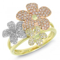 0.53ct 14k Three-tone Gold Diamond Flower Ring