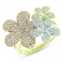 0.73ct 14k Three-tone Gold Diamond Flower Ring