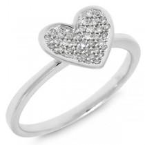 0.13ct 14k White Gold Diamond Pave Heart Ring