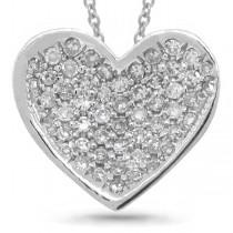 0.18ct 14k White Gold Diamond Pave Heart Pendant Necklace